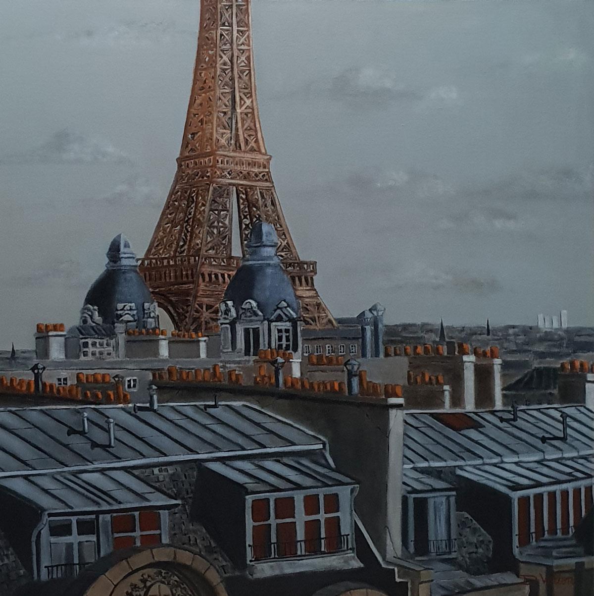 Toits de Paris et Tour Eiffel -80x80