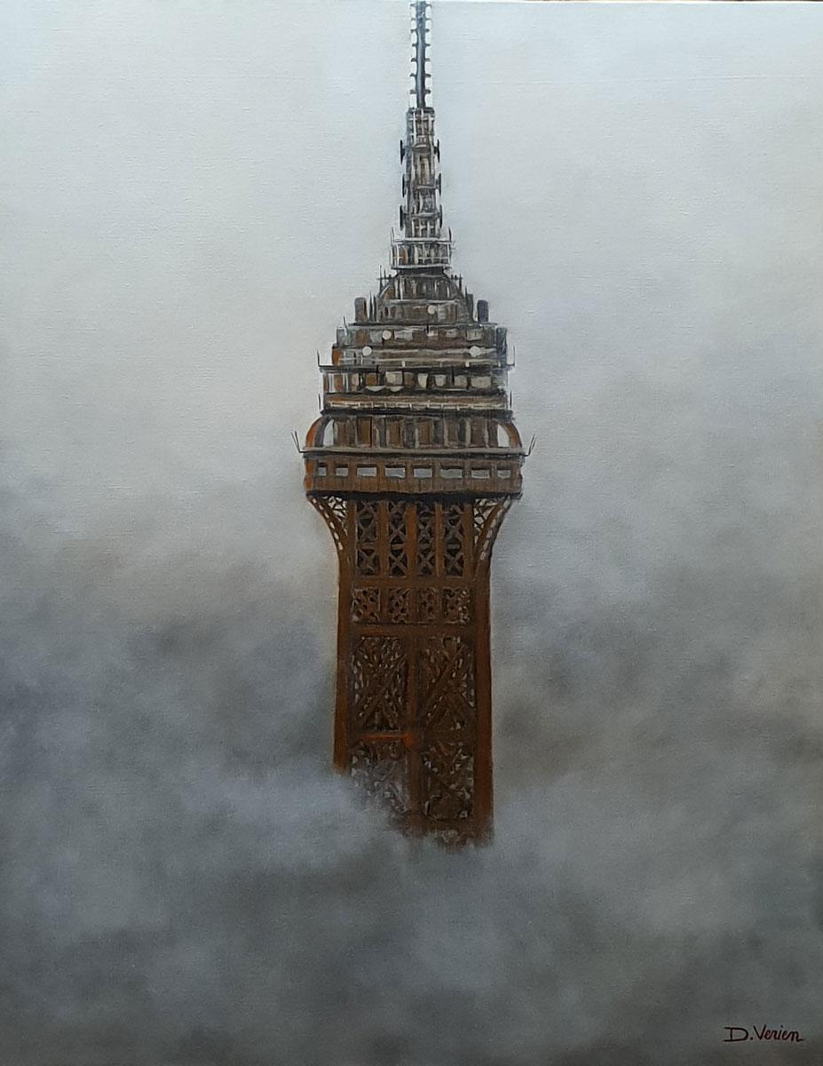 Tour Eiffel dans la brume -92x73