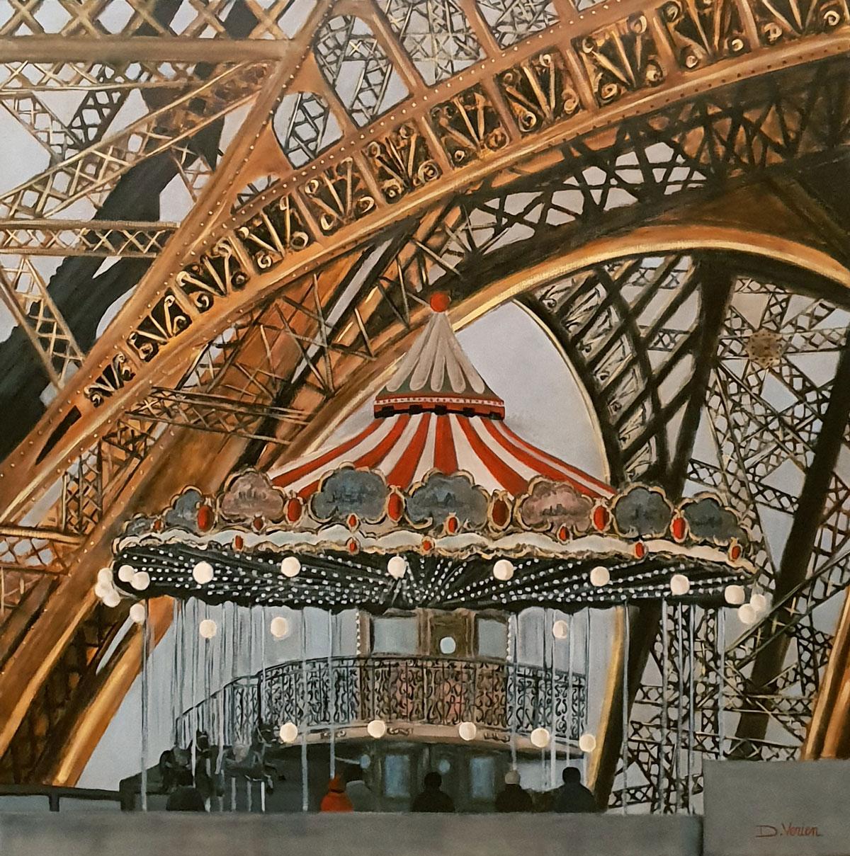 Manège à la Tour Eiffel -100x100